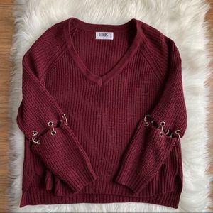 LF Stores maroon sweater with ring details XS